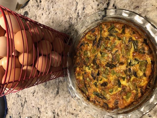 Crustless Mushroom and Asparagus Quiche
